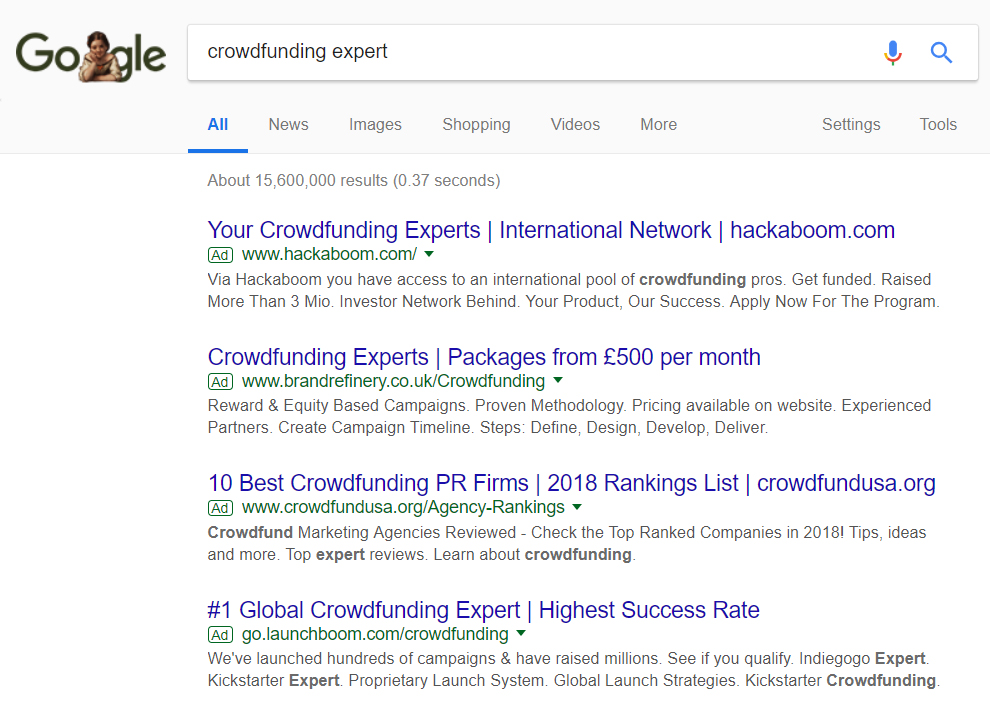 "Google Search for ""crowdfunding expert"""